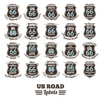 Collection of route 66 labels