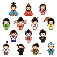 Collection of traditional japanese people