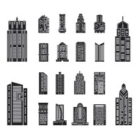 Collection of various building silhouettes