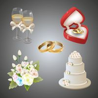 Collection of wedding items