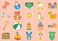 Colorful baby icons