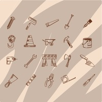 Construction tool icon collection
