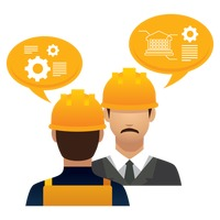 Construction worker and engineer with speech bubbles