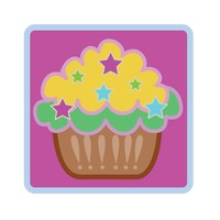 Cupcake over fuchsia background