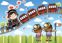 Cute children waving at train on tracks
