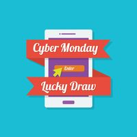 Cyber monday lucky draw icon
