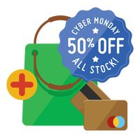 Cyber monday sale design and shopping bag with cash cards