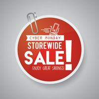 Cyber monday sale label with paper-clip