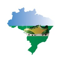 Double exposure of brazil map with football shoe