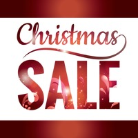 Double exposure of christmas sale text with abstract design
