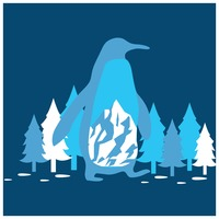 Double exposure of penguin and pine trees