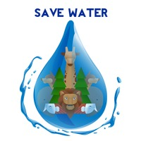 Double exposure of save water concept
