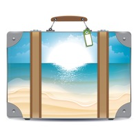 Double exposure of suitcase and beach