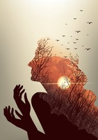 Double exposure of woman and sunset