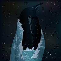 Double exposure penguin and iceberg