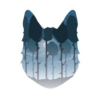 Double exposure wolf and forest