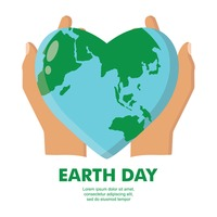 Earth day in the shape of heart