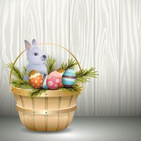 Easter basket with bunny and eggs