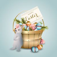 Easter basket with bunny eggs