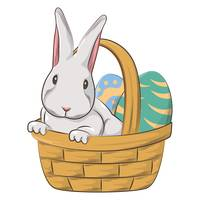 Easter bunny and eggs in basket