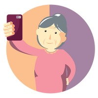 Elderly woman taking selfie
