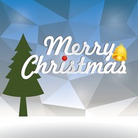 Faceted merry christmas card design