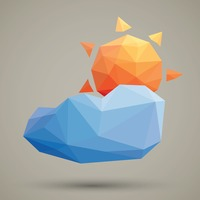 Faceted sun and cloud