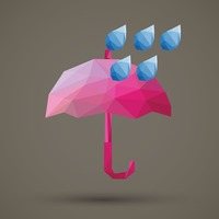 Faceted umbrella and rain