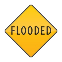 Flooded warning sign