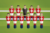 Foosball figurines represent switzerland football team