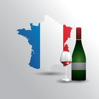 France map with wine bottle