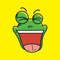 Frog with laughing face expression