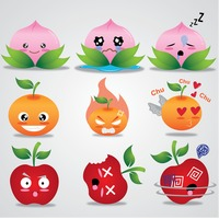 Fruits cartoon with different expressions