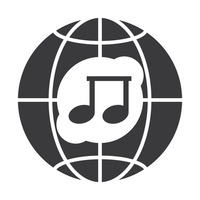 Globe icon with music symbol
