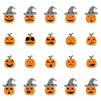 Halloween pumpkin icon set