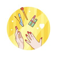 Hands with cosmetic products