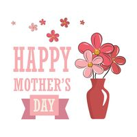 Happy mothers day card with flower vase