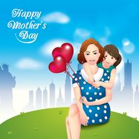 Happy mothers day card with mother and daughter
