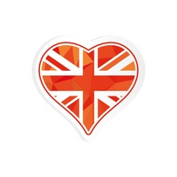 Heart with united kingdom flag sticker