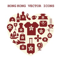 Hong kong vector icons set