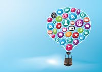 Hot air balloon with social media elements