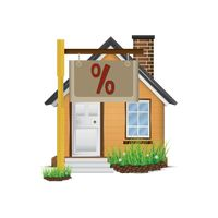 House with percent sign