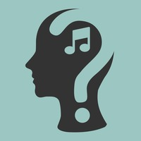 Human head with question mark and musical note