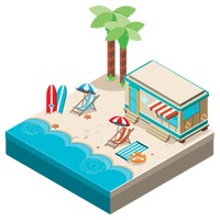 Isometric beach