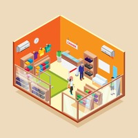 Isometric garments store