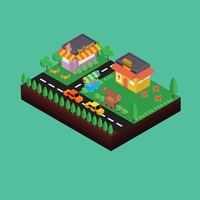Isometric ice cream parlour and fast food restaurant
