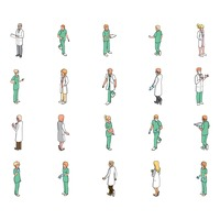 Isometric medical professional people