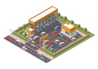 Isometric multi-storey car parking and service center