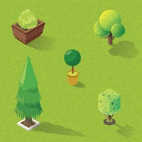 Isometric trees and potted plants