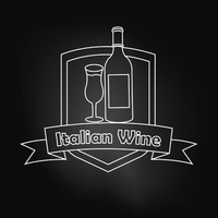 Italian wine over black background